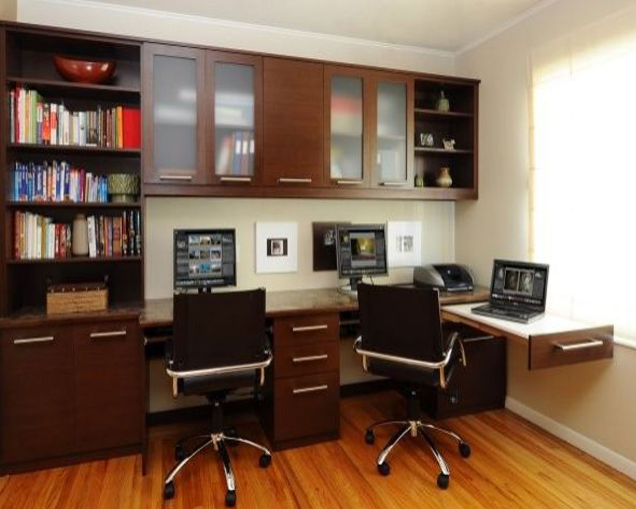 Stunning Office At Home Ideas With Brown Wooden Floor And Brown Wooden Desk Ideas