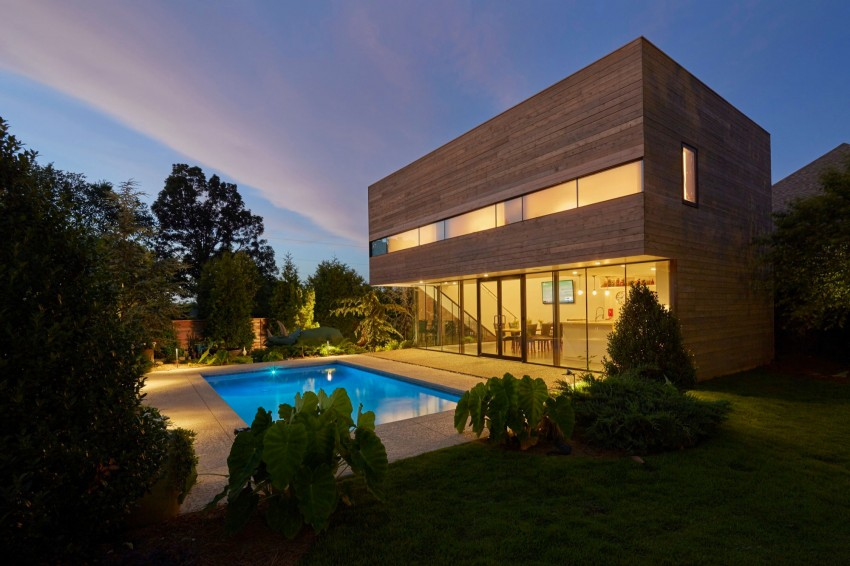 Stunning Wooden Panel Wall and Visible Glass Window also Shipping Container Pool