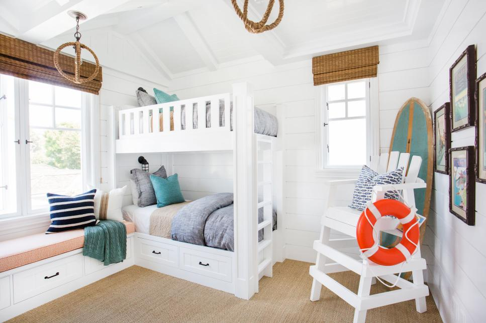 Stylish Bedroom Decor With White Childrens Bunk Beds also Chair