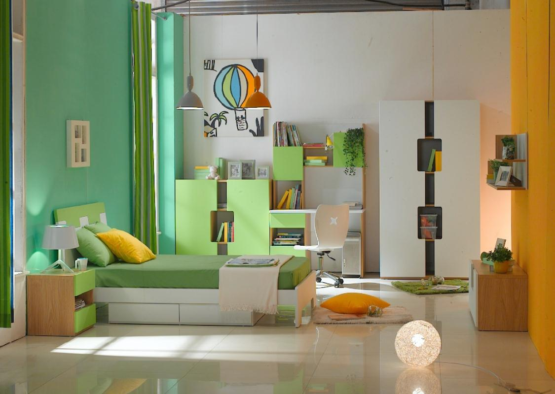 Superb Design Of The Bedroom Areas With Green And Orange Wall Ideas As Well As The Kids Bedroom Furniture