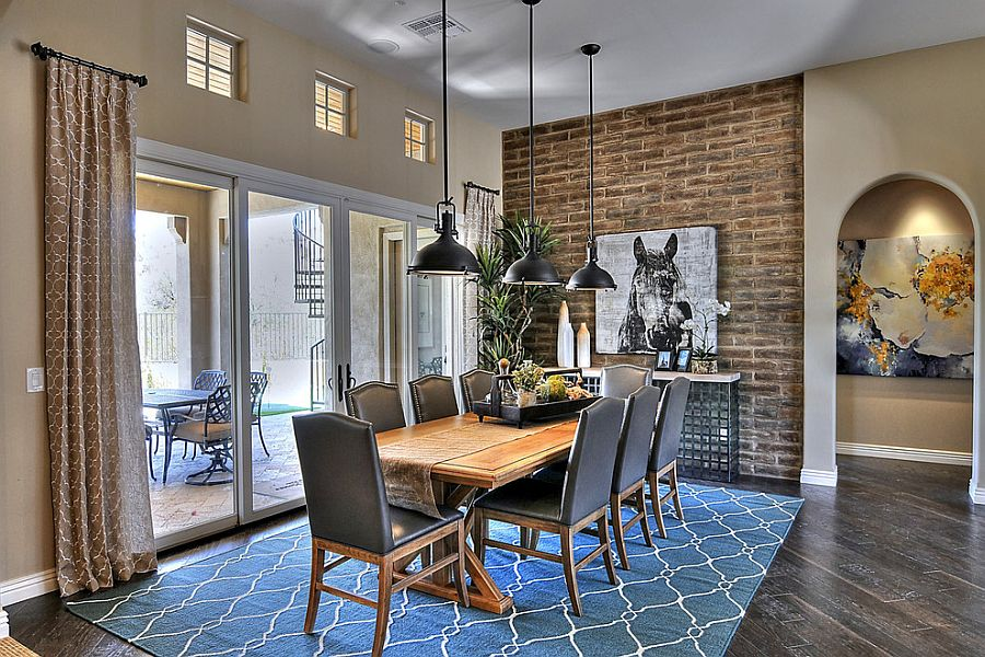 Superb Design Of The Blue Dining Room With Blue Rugs Ideas Added With Grey Floor And Three Pendant Lamp