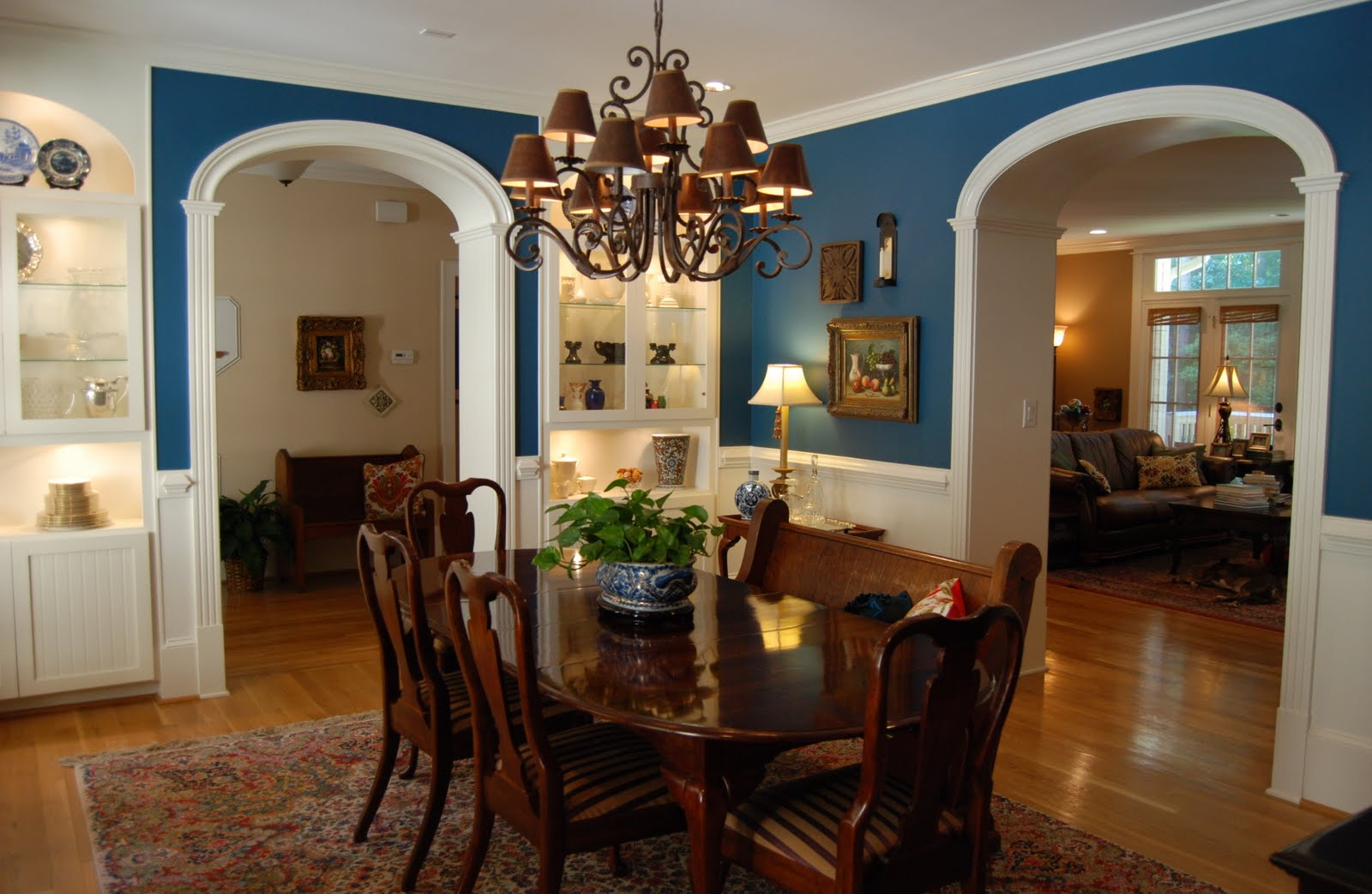 Superb Design Of The Blue Wall Ideas Added With Brown Wooden Floor And Woden Table