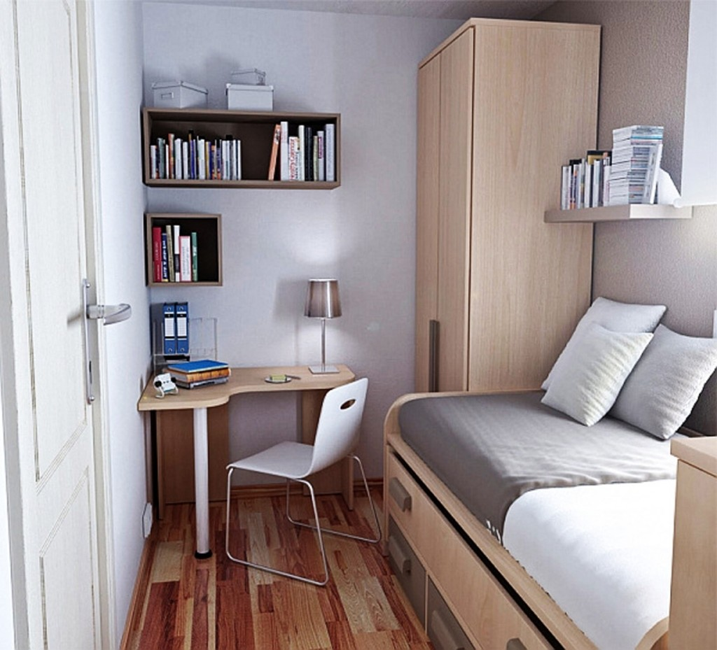 Superb Design Of The Brown Wooden Floor Added With Brown Wardrobe Added With White Wall As The Furniture Of Small Bedroom Design