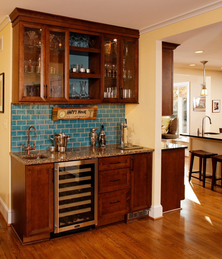 Superb Design Of The Brown Wooden Floor Added With Brown Wooden Wet Bar Ideas With Blue Tile Ideas