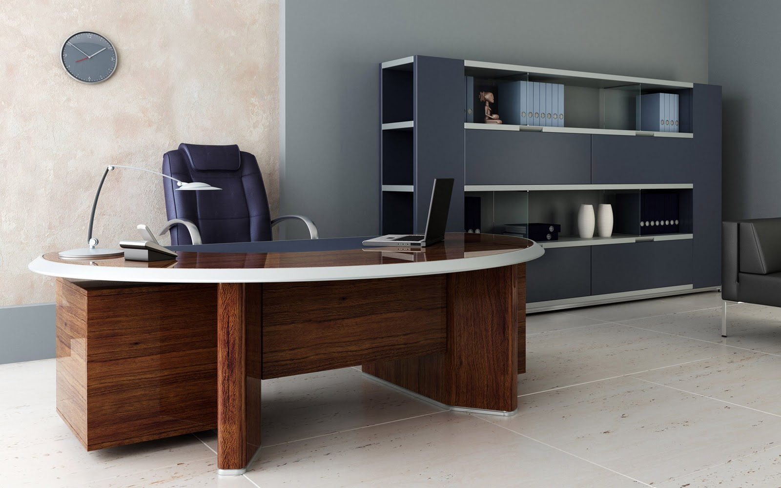 Superb Design Of The Brown Wooden Table Added With G Shelves And Grey Wall Office Areas Idas