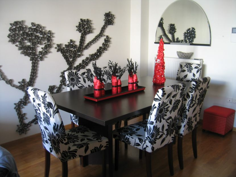 Superb Design Of The Dining Room Centerpieces With Black Wooden Table Added With White And Black Floral Motives Chairs Ideas