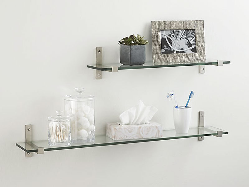Superb Design Of The Glass Wall Shelves With Silver Iron Holder Shelves Put On The White Wall Ideas