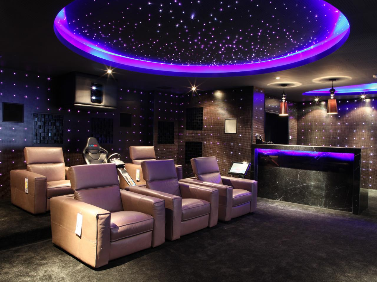 Superb Design Of The Home Theater Design With Purple Ceiling Ideas With Bars And Young Grey Sofas