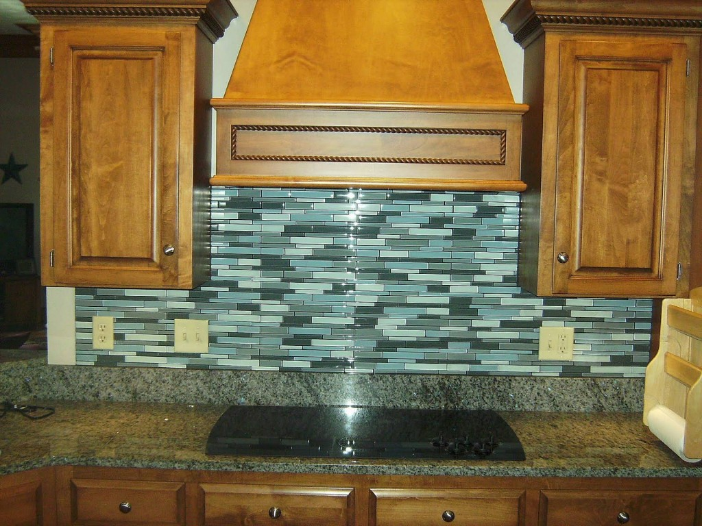 Superb Design Of The Kitchen Areas With Brown Wooden Cabinets Added With Grey Tops And Blue Tile Bakcsplash Design