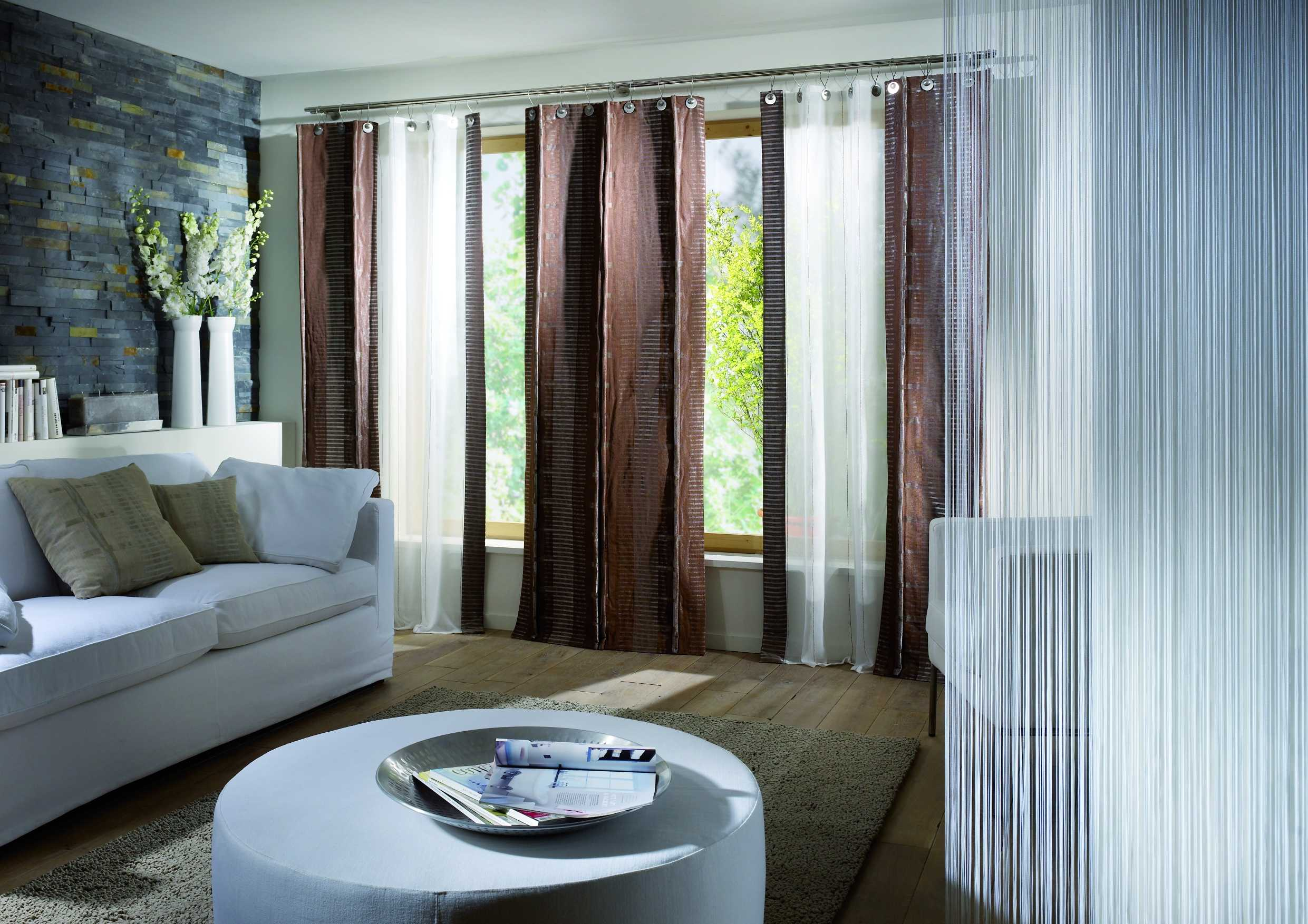 Superb Design Of The Living Room Drapes With White Wall Ideas Added With White Sofa And Brown Wooden Floor Ideas
