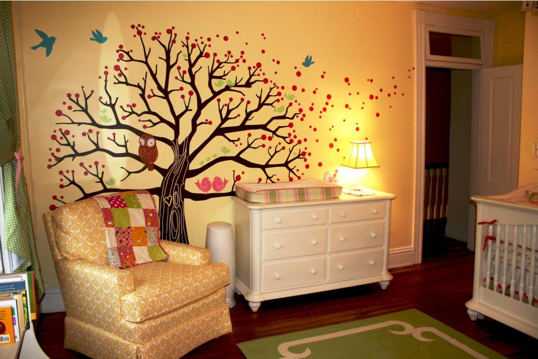 Superb Design Of The Orange Wall Added With Paint At The Wall With White Cabinets As The Nursery Room Ideas