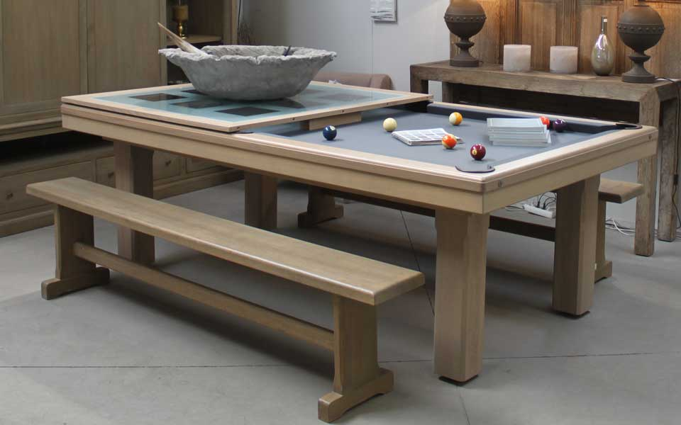 Superb Design Of The Pool Dining Table With Grey Floor Ideas Added With Brown Wooden Long Chairs Ideas