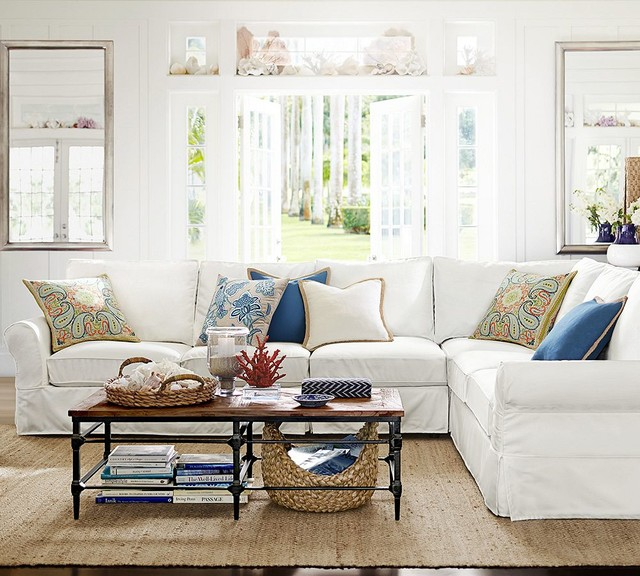 Superb Design Of The White L Shape Sofa Added With Brown Wooden Floor As The Pottery Barn Living Room