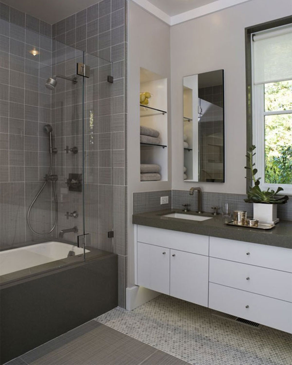 Tantalizing Showering Area also Lush Vanity Plus Shelve For Small Bathroom Remodels