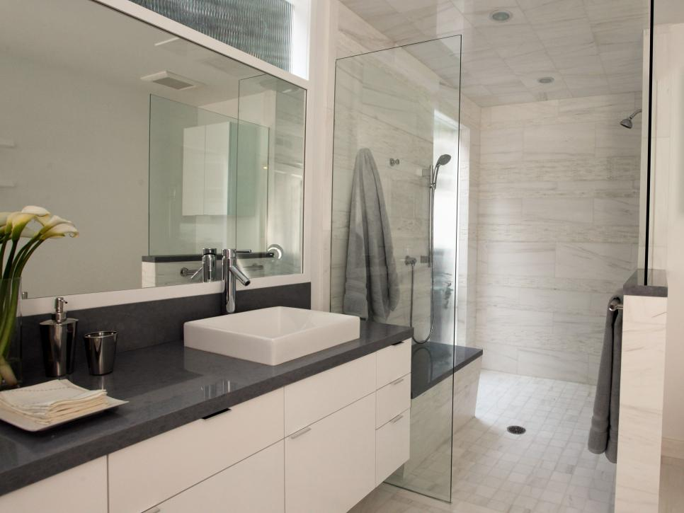 Winsome Hanging Contemporary Bathroom Vanity near Lush Showering Area Decor