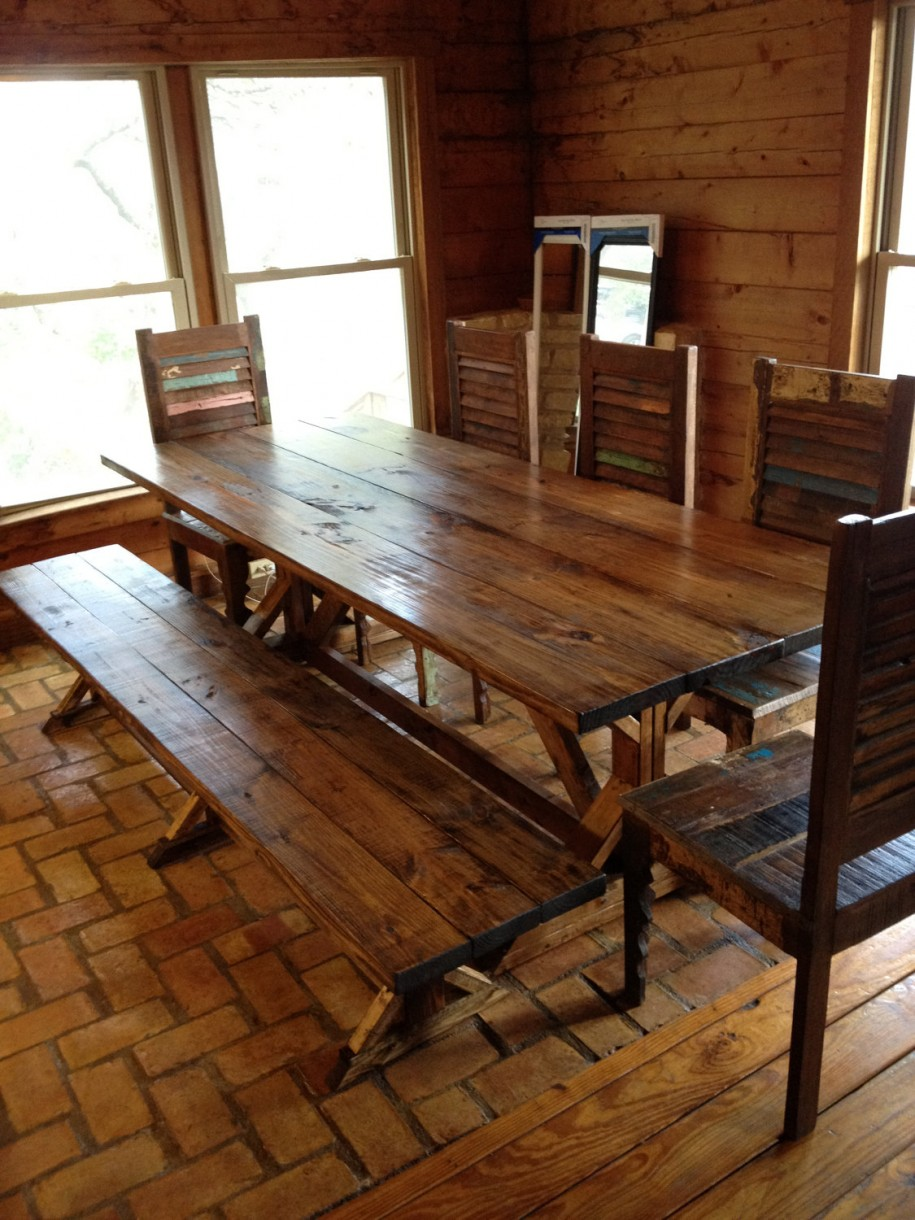 Wonderful Chair and Rustic Kitchen Table Plus Long Bench Decor