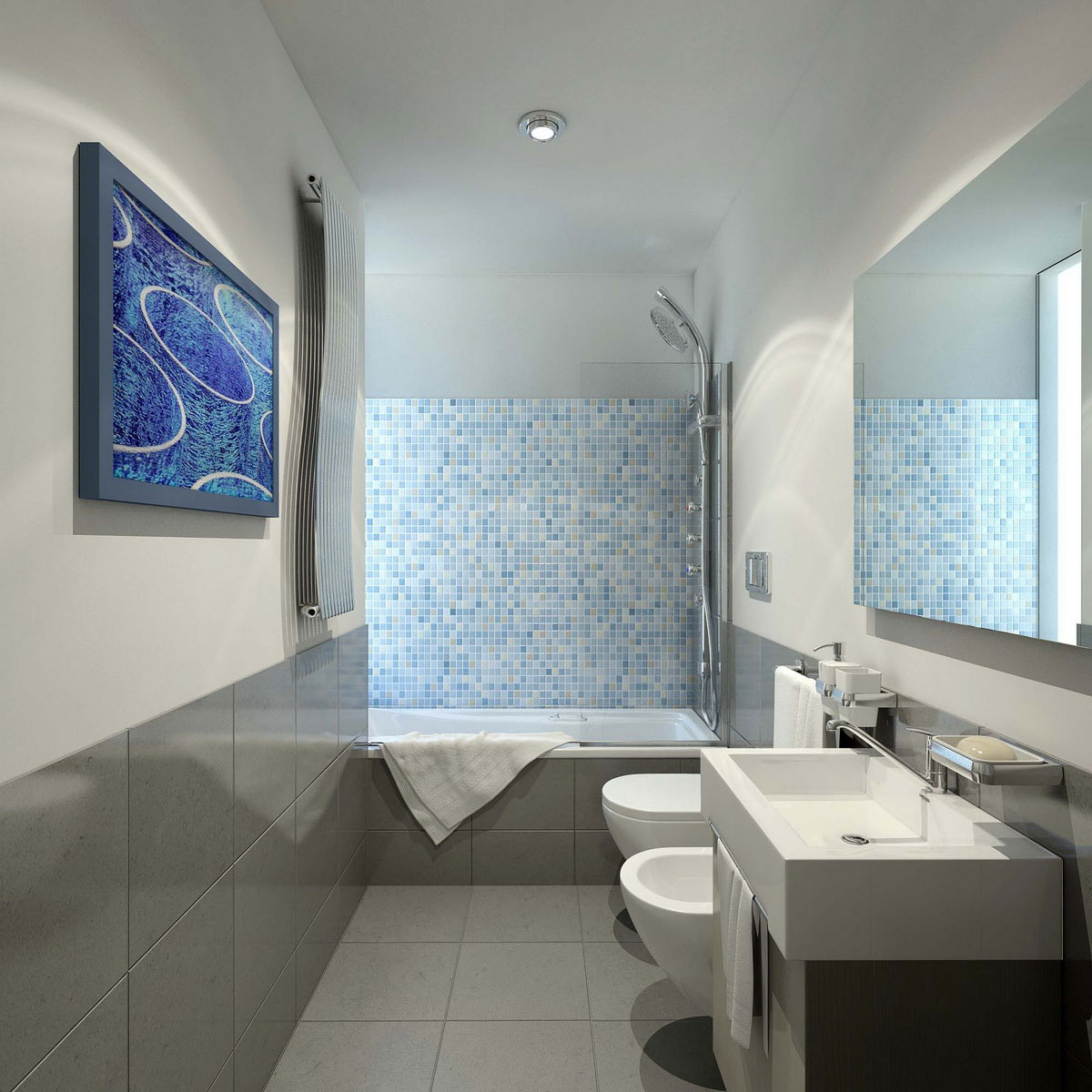Wonderful Showering Area also Toilet plus Modern Vanity Decoration Ideas