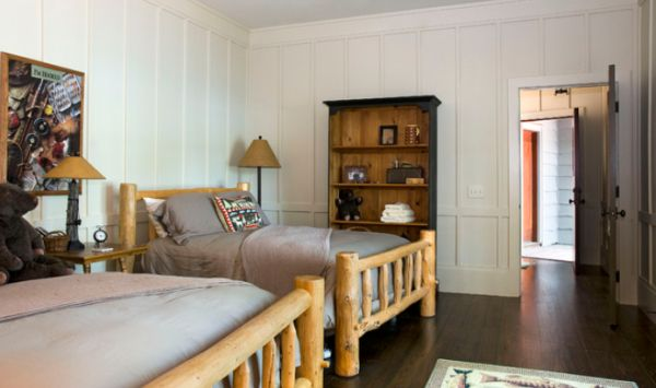 Adorable Bedroom With Wall Paneling Ideas also Twin Beds plus Rack