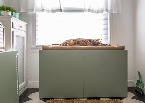 Adorable Cat Rest Area With Comfortable Seat Near Spacious Window · Best Litter  Box Cover Design Ideas On Dresser Using Small Hole