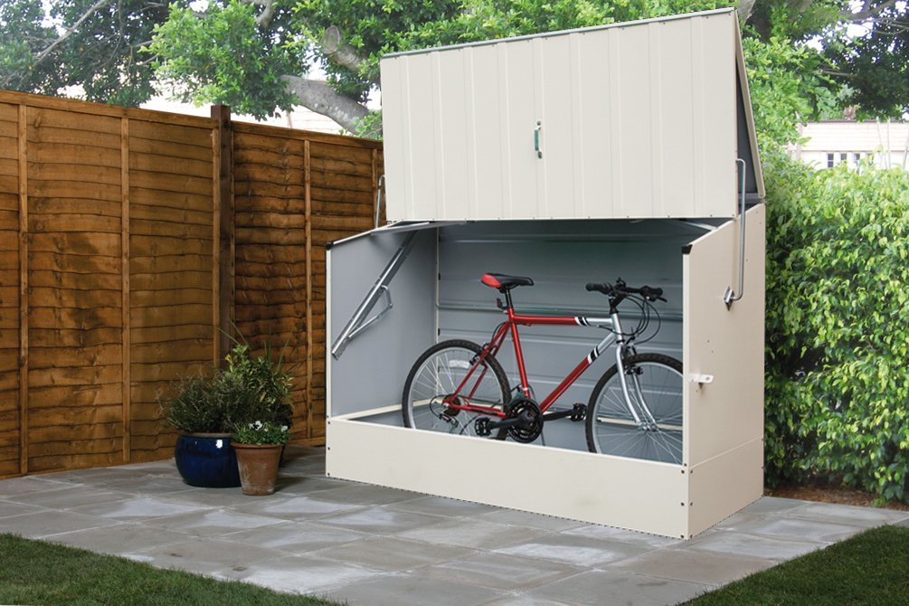 Adorable Design Of The Bike Storage Outdoor With Grey Color Ideas Added With Grey Floor And Brown Wooden Fences Ideas