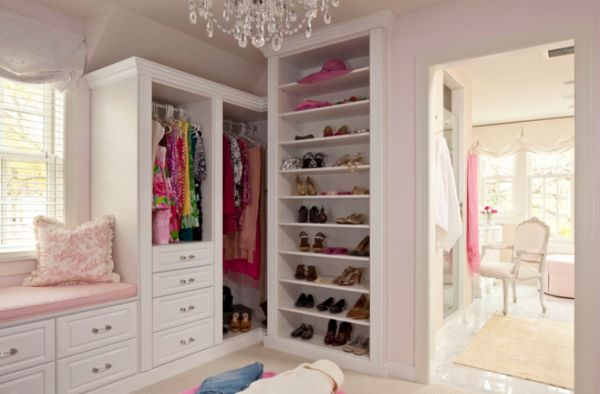 Adorable Design Of The Closet Ideas With White Wooden Shelves Ideas Added With White Cabinets And White Wall Ideas