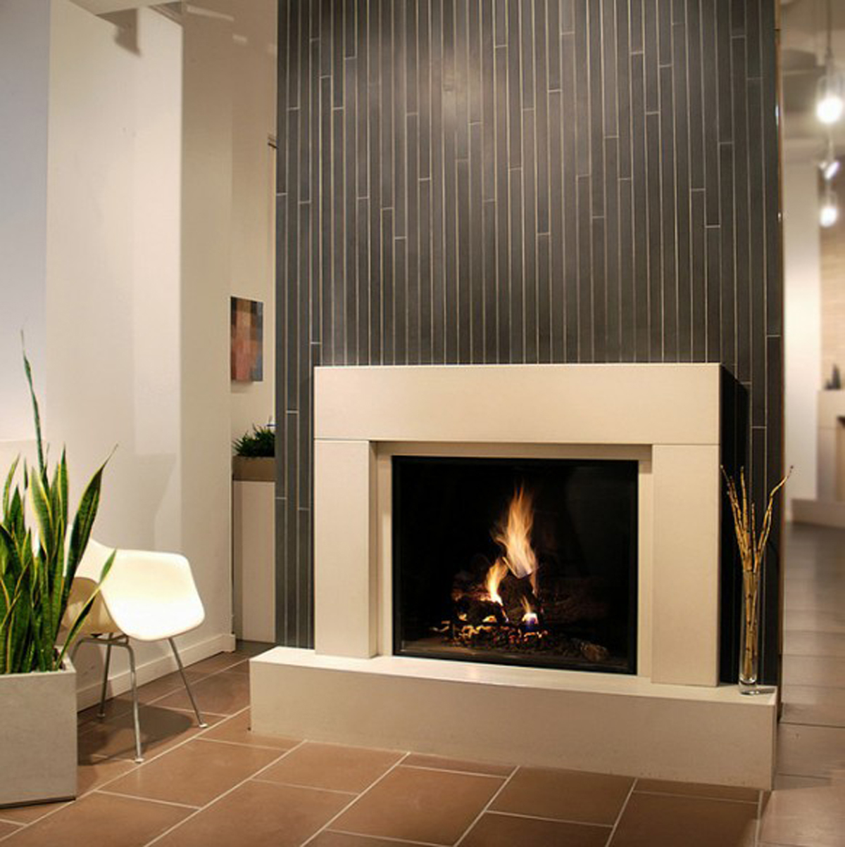 Adorable Design Of The Electric Fireplace With Grey Wall Added With Beige Mantels Ideas And White Wall Ideas