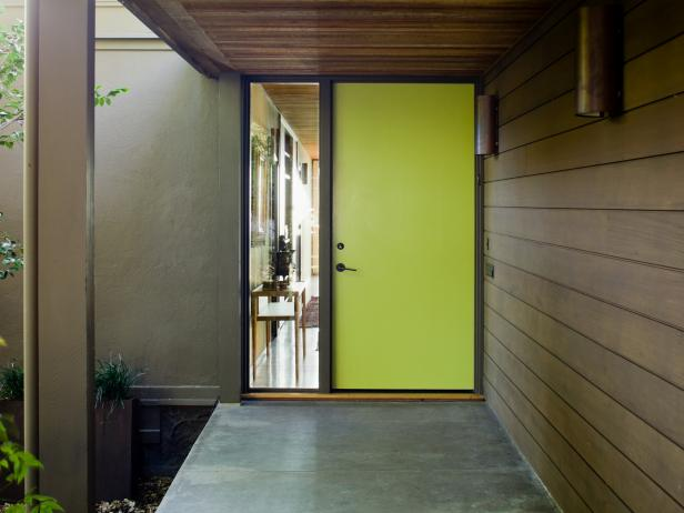 Adorable Design Of The French Front Door With Green Color Ideas Added With Grey Floor And Brown Wooden Wall Ideas