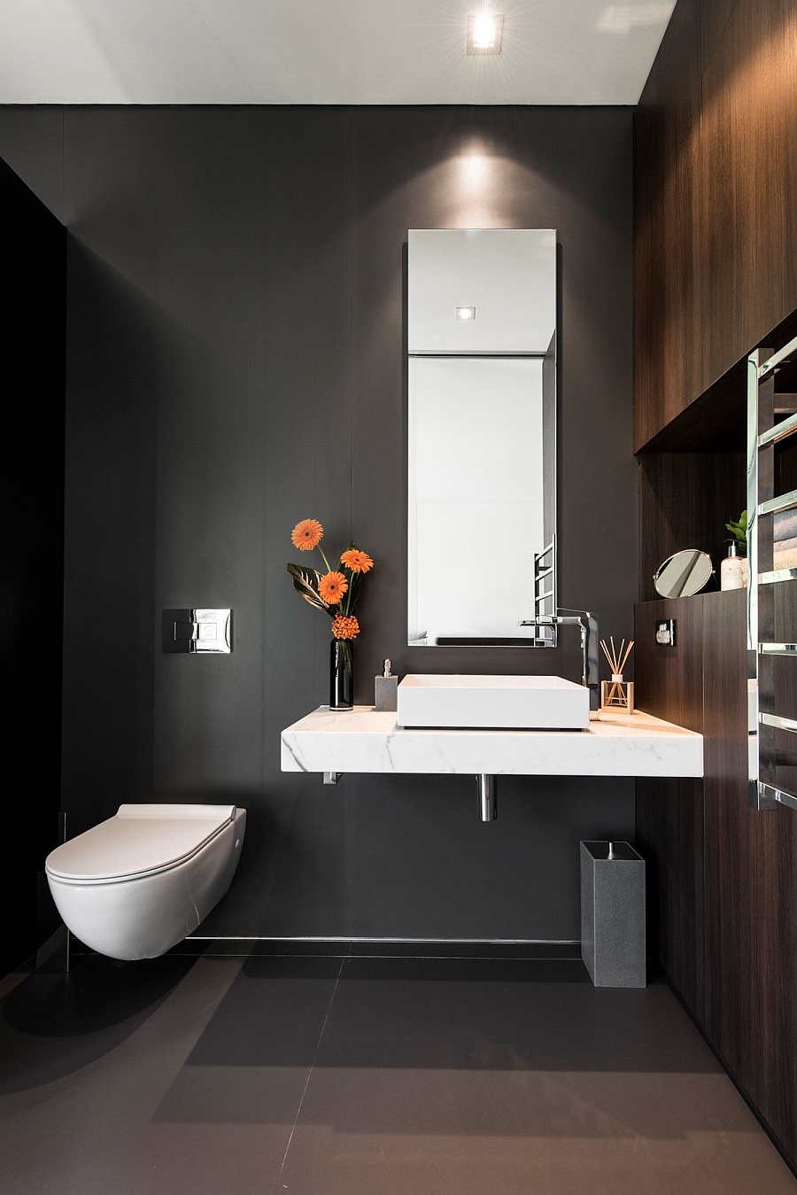 Adorable Design Of The Gray And White Bathroom With Black Grey Wall Ideas Added With White Toilets And Sink Ideas