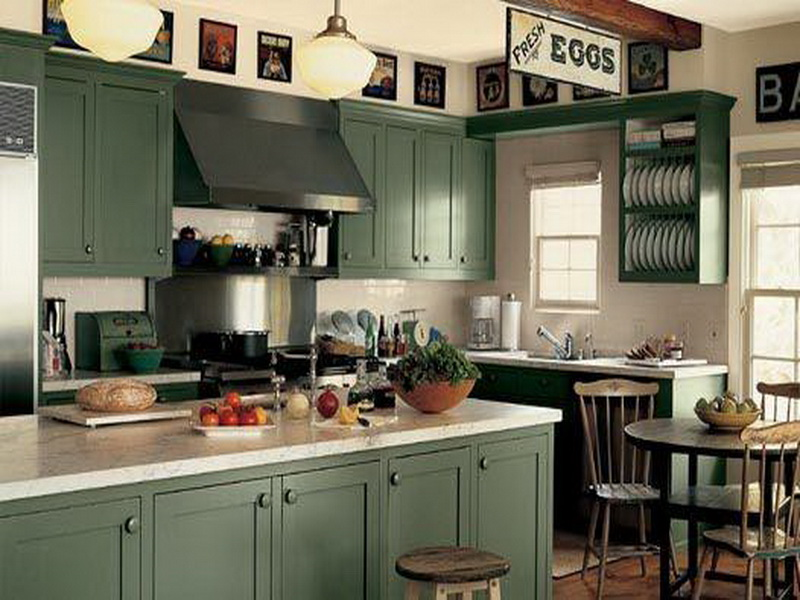Adorable Design Of The Green Kitchen With Green Kitchen Island Added With White Wall And White Marble Tops Ideas