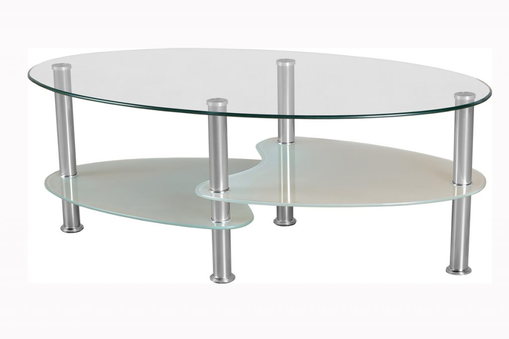 Merveilleux Adorable Design Of The Oval Glass Coffe Table With Two Shelf With Silver  Iron Legs As