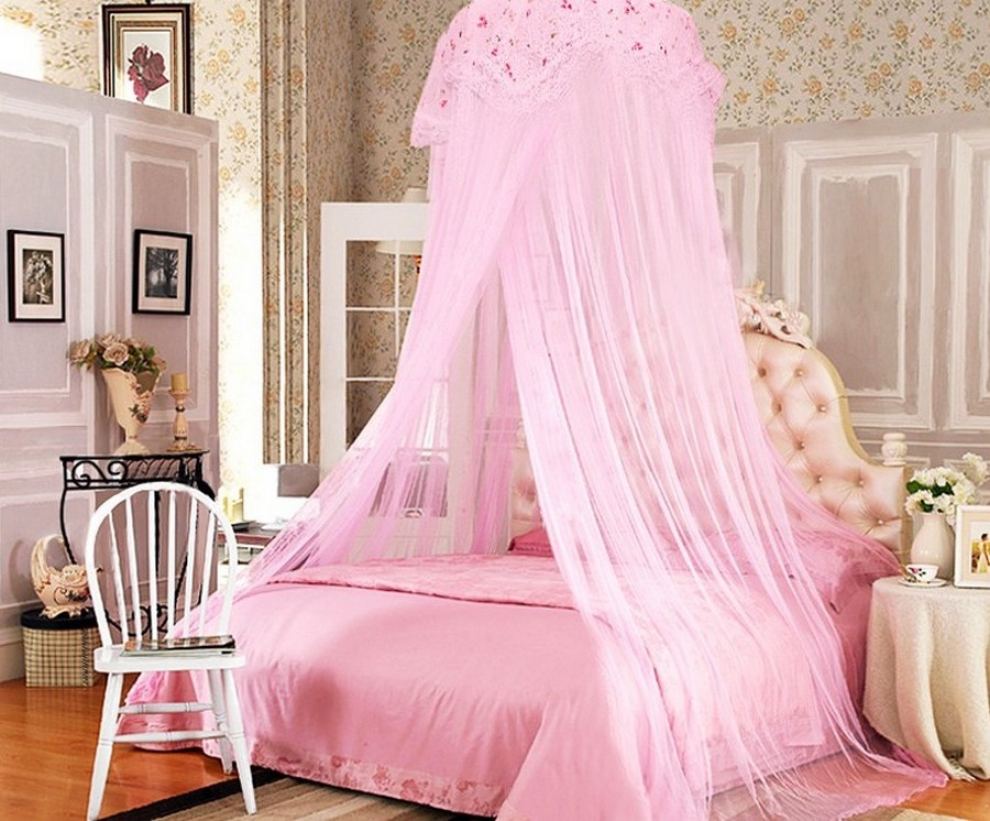 Adorable Design Of The Princess Canopy Bed With Pink Curtain And Pink Bed Ideas Added With White Chair