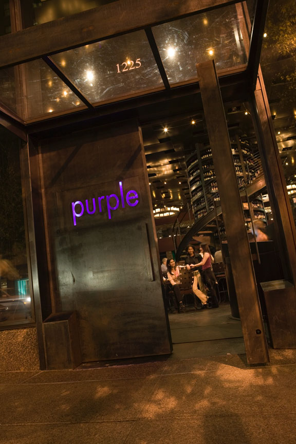 Adorable Design Of The Purple Cafe At Seattle With Purple At The Black Wooden Wall With Glass Ceiling Ideas