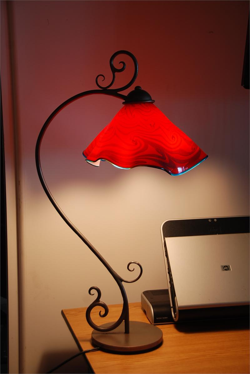 Adorable Design Of The Red Pendant Lamp With Flower Look A Like Shape Added With Black Iron Frame Ideas