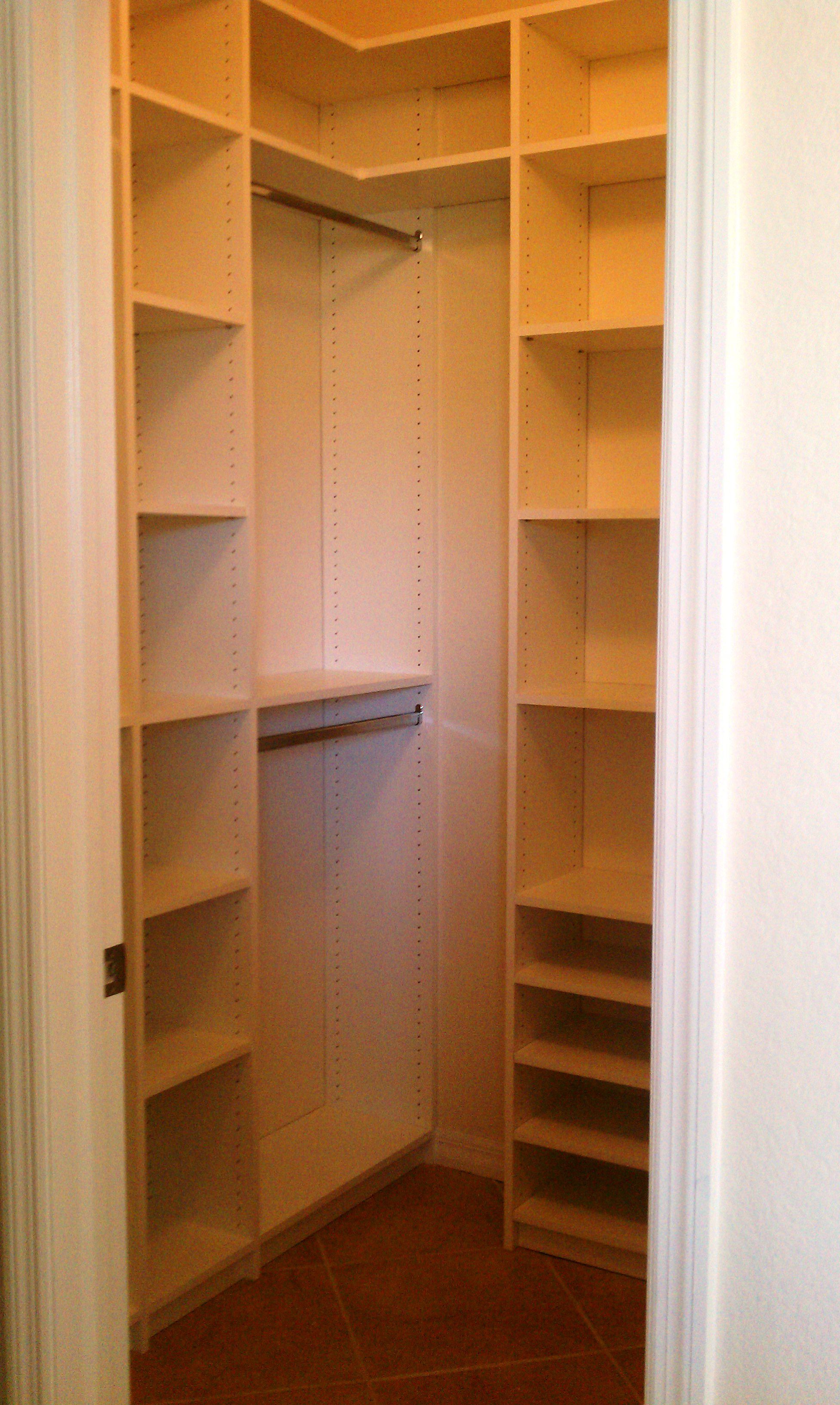 Adorable Design Of The Small Closet Design With Brown Wooden Shelves Added  With Brown Wooden Floor