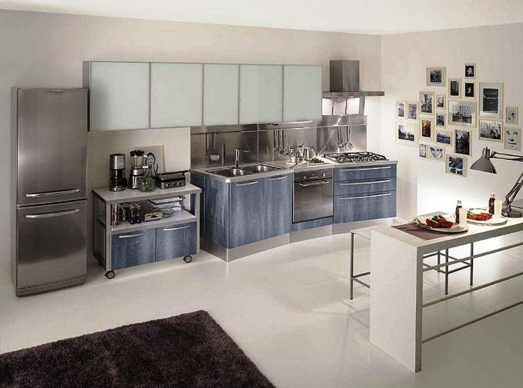 Adorable Design Of The Stainless Steel Kitchen Cabinets With White Wall Ideas Added With White Kitchen Island And White Floor