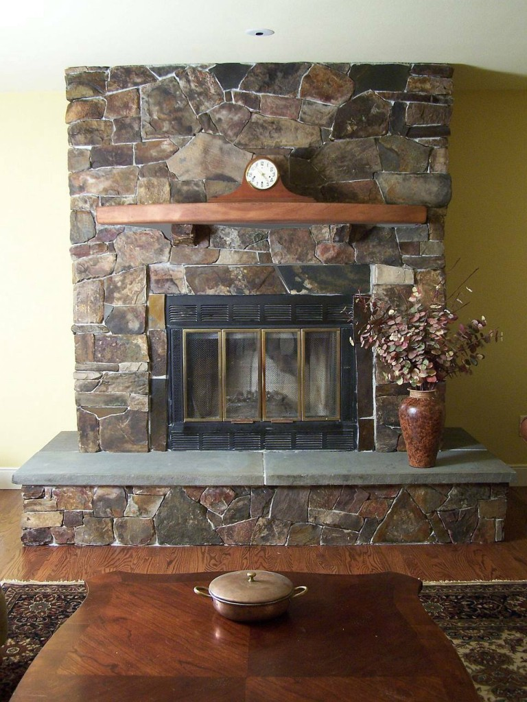 Adorable Design Of The Stone Fireplace Surround With Brown Wooden Shelf Also Brown Wooden Floor Ideas