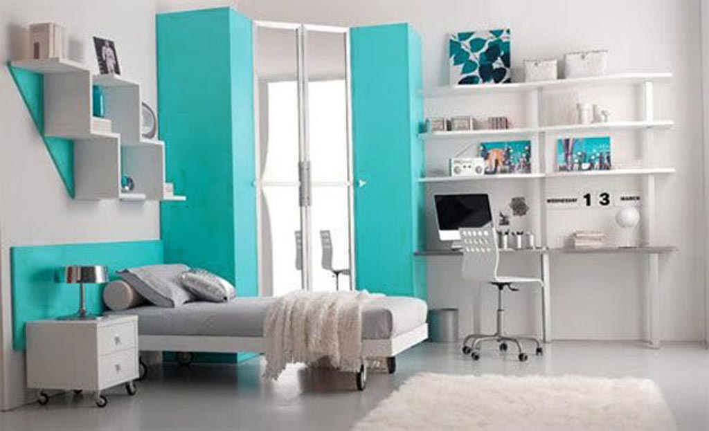 Adorable Design Of The Teenage Room Decor With Blue Tosca And White Wall Ideas Added With White Rugs And White Shelves Ideas