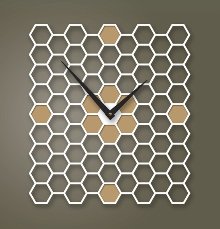 Adorable Design Of The Wall Clocks Ideas With Bees Nest Shape Look A Like Put On The Grey Wall Ideas