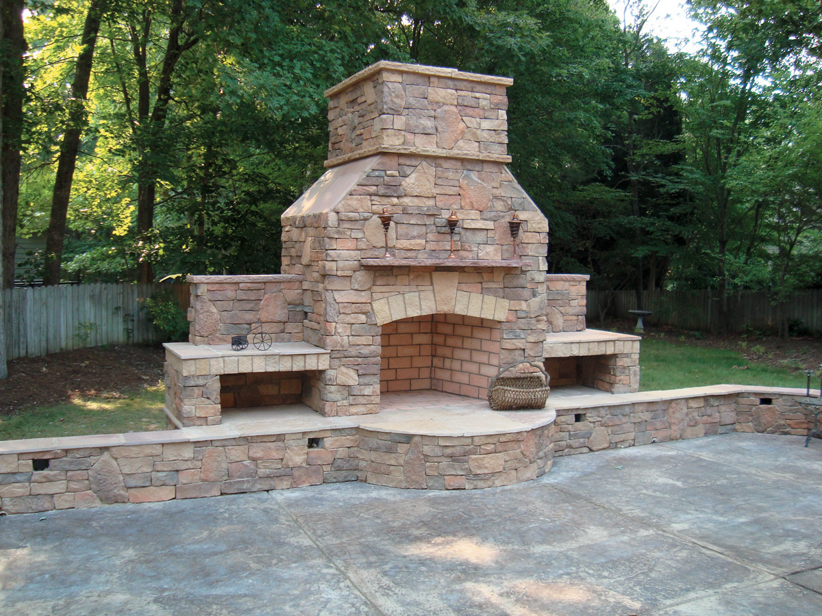 Alluring Garden Decoration Ideas Using Natural Fireplace Stone Veneer also Concrete Floor