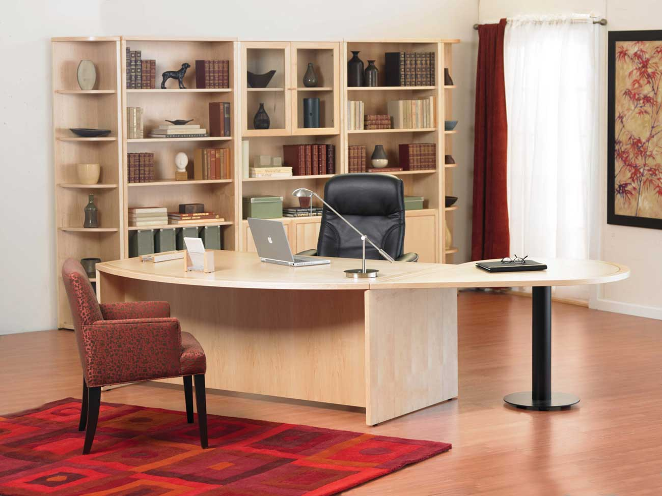 Alluring Home Office With Computer Desk also Chair Plus Table Lamp