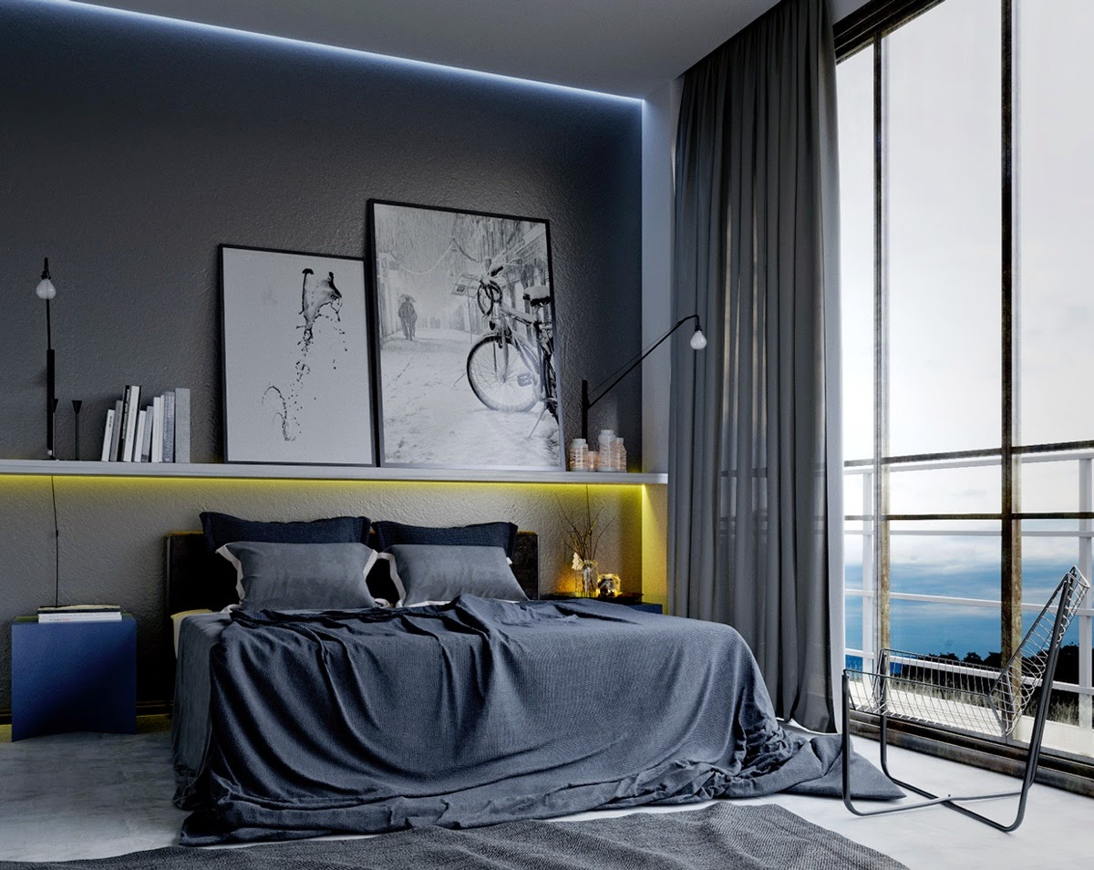 Amazing Design Of The Bedroom For Men Ideas With Black Bed Added With Grey Wall Ideas With Wall Mounted Lamp Ideas