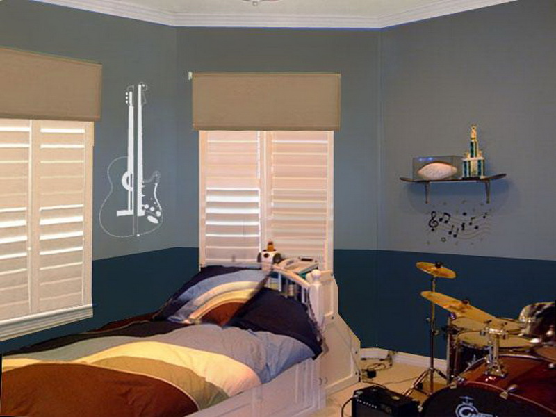 Amazing Design Of The Boy Bedroom With Blue Wall Ideas Added With White Wooden Frame Bed Ideas With Drums Set