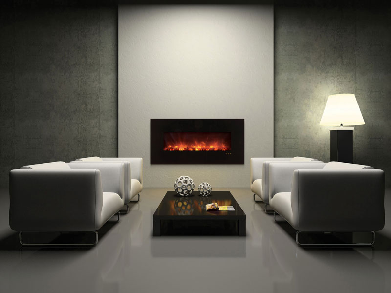 Amazing Design Of The Electric Fireplace With Grey Wall Added With White Ofa And Grey Floor Ideas With Black Wooden Table Ideas