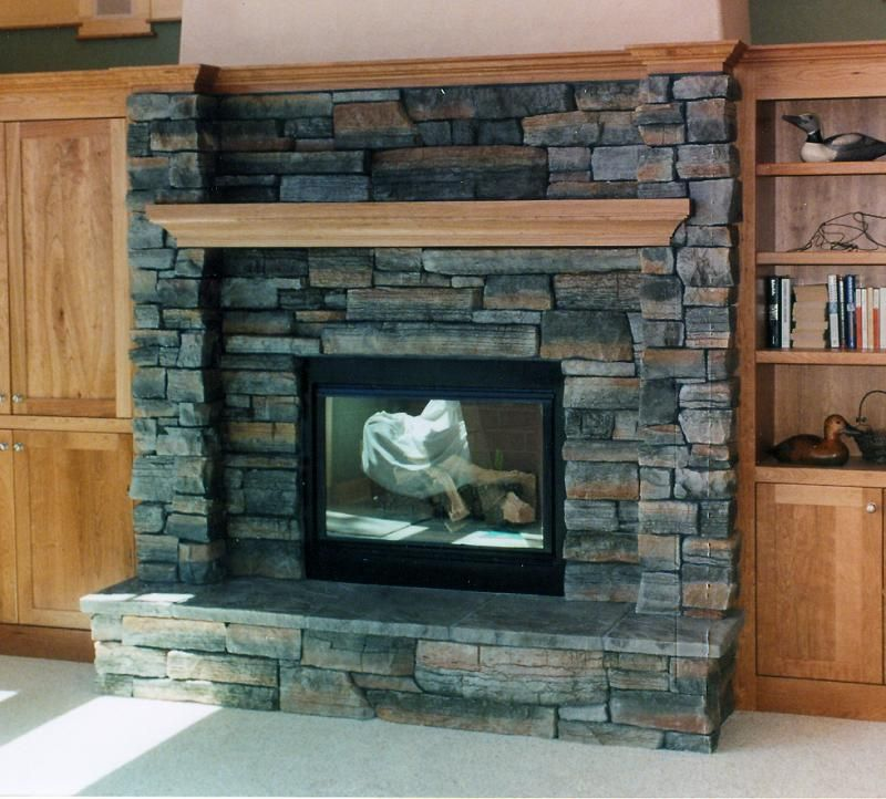 Superbe Amazing Design Of The Fireplace Stone Veneer With Brown Wooden Shelf And  Brown Wooden Book Shelf