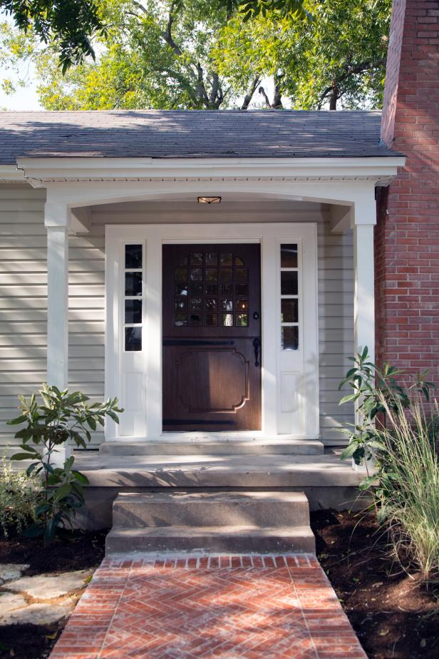 Amazing Design Of The French Front Door With Brown Wooden Color Ideas Addd With White Windows Ideas