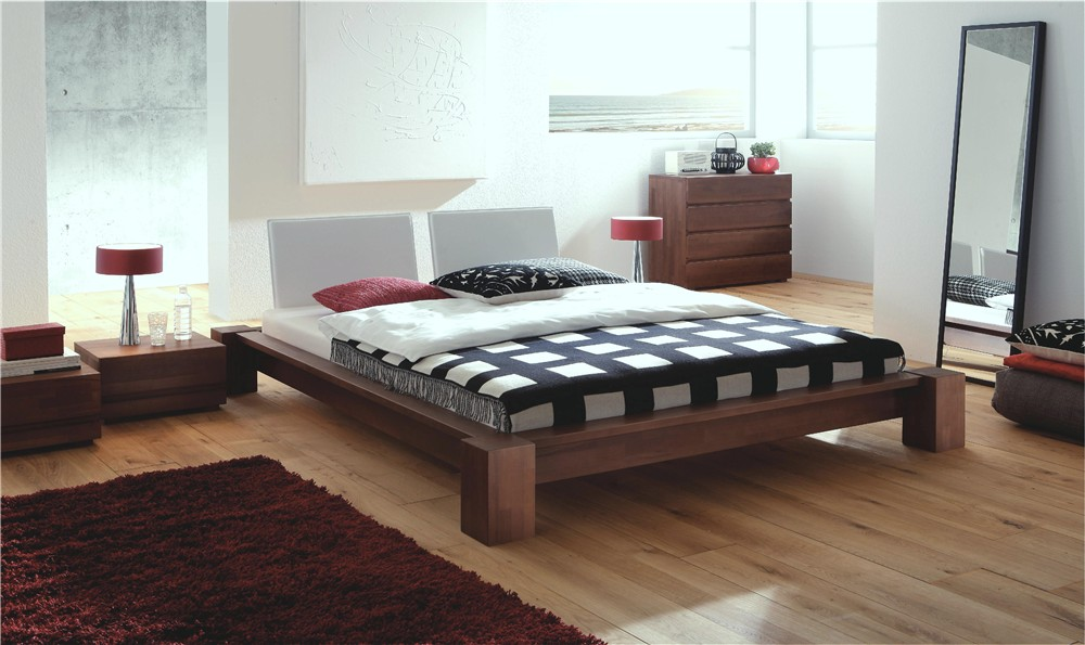 Amazing Design Of The Japanese Style Bed With Brown Wooden Floor Ideas Added With Red Rugs Ideas And Brown Wooden Side Table