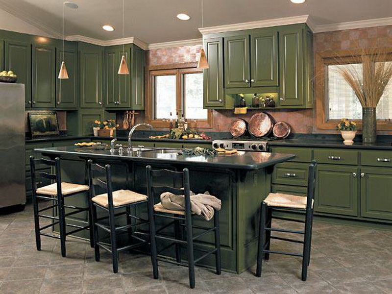 Amazing Design Of The Kitchen Cabinets With Green Color Ideas Added With Green Kitchen Island Ideas With Grey Floor Ideas