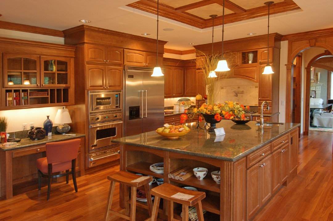 Amazing Design Of The Kitchen Layout Design With Brown Wooden Floor Ideas Added With Brown Wooden Kitchen Island And Brown Wooden Chairs Ideas