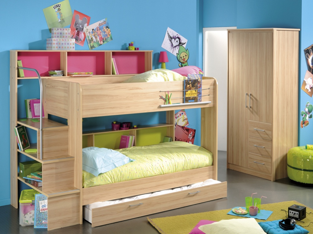 Amazing Design Of The Loft Bed With Storage With Brown Wooden Bed Ideas Added With Grey Floor And Colorful Rugs Ideas