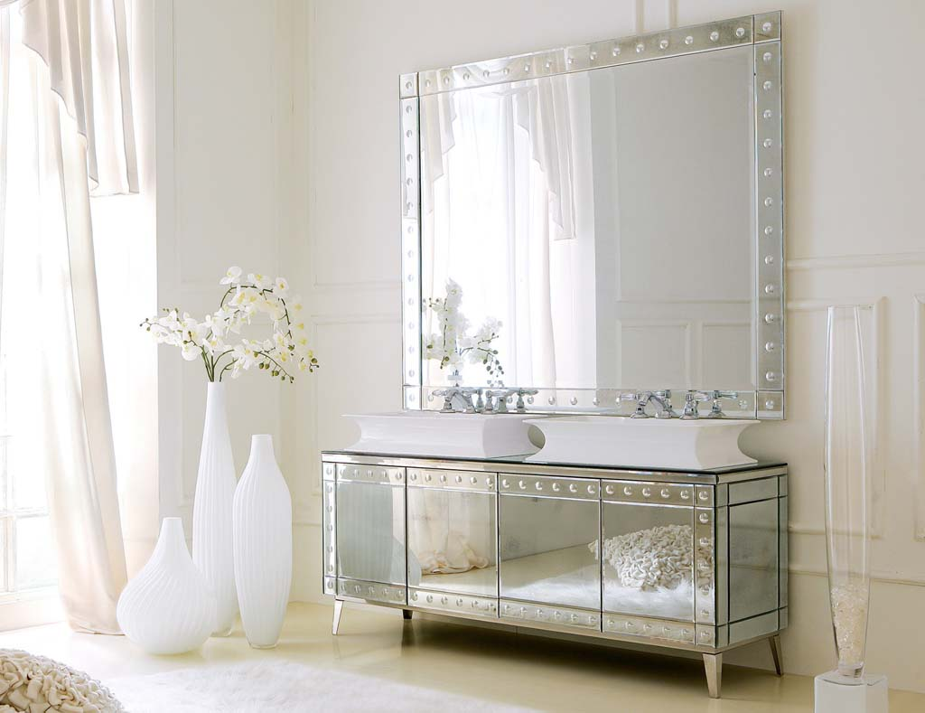 Attrayant Amazing Design Of The Mirrored Bathroom Vanity With White Wall Ideas Added  With Big Mirror Ideas